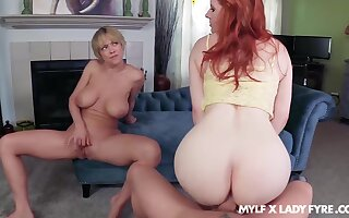 Dee Williams oozes milky cum charges FFM fuck wide Lady Fyre