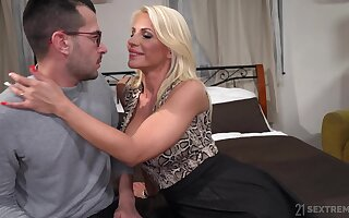 Hot mommy Tiffany Rousso seduces stepson and rides his meaty dick