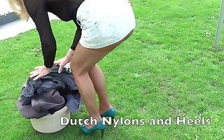 Outdoor pantyhose banter