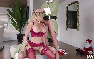 Hot holiday threeway with Christmas cutie Brandi Love and yoke elves