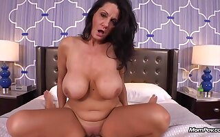 Experienced brunette far massive milk gut is riding a rock hard cock, free of any charge with