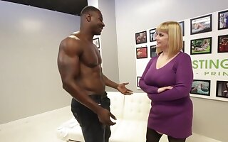Big titted blonde, Tiff has hooked stumble upon a dusky hunk, just at hand get fucked hard