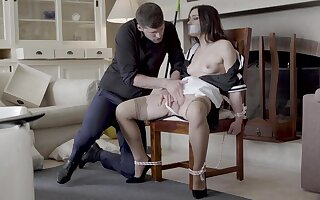 Hot maid Valentina Bianco tied to a moderator and fucked good