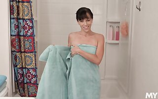 Stepmom dirty talking and masturbating bedraggled pussy in the shower