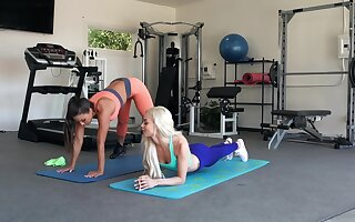 Sporty girls work out surrounding a another manner