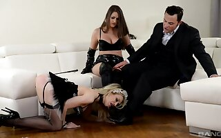 Strap-on enjoyment during hardcore FFM threesome with Chessie Kay and Linda J.