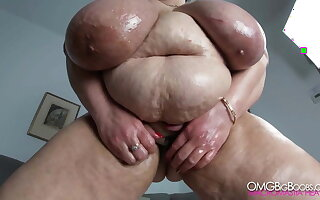 Russian mom with jumbo tits, belly and fat pussy