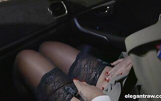Hot Russian spoil Anna Polina shows stockings upskirt regarding french patrolman