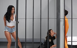 Astounding MILF rides inmate's cock while back jail