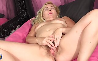Horny blonde granny is without exception masturbating together with even using sex toys, because it feels approvingly better