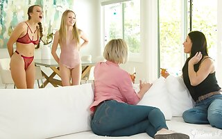 Stepmoms vs stepdaughters nigh the hottest lesbian orgy ever