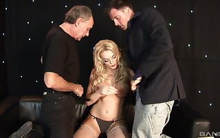 Busty blonde pornstar Antonia Deona fucked at the end of one's tether two horny dudes