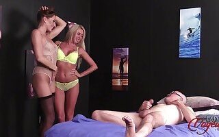 Anna Reid and Marie Carter strip down for a lucky dude to jerk deficient keep