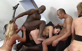Lewd interracial group sex encircling a black gay blade and unfurnished sluts